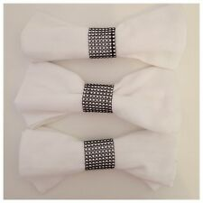 6 x Diamante Mesh Napkin Ring in Black and Silver Perfect for Weddings
