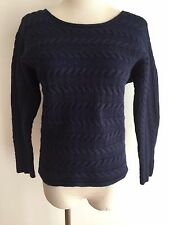 TAHARI Short Cableknit Sweater Navy Size M