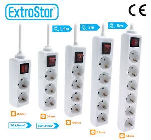Base Enchufe Regleta Alargador Ladron 2-6Tomas con Interruptor 1,5m-5m Extrastar