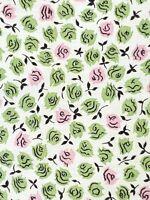 "Vtg 50s 60s Handmade Tiny Green Pink Roses Floral Half Apron w/ Pocket~21.5"" L"