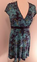 Per Una Turquoise Navy Stretch Short Sleeved Knee Length Dress Size 16