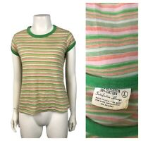 1970s Stripe Shirt Top / Green and Orange Stripe Capped Sleeve Blouse S/M