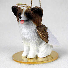 Papillon Dog Figurine Ornament Angel Statue Hand Painted Brown & White