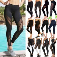 Womens High Waist YOGA Pants Sports Mesh Workout Gym Fitness Leggings Trousers