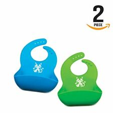 Waterproof Silicone Bib Easily Wipes Clean Adjustable Snaps and Wide Food Pocket