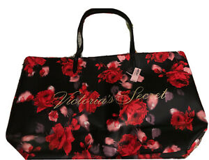 VICTORIA'S SECRET-NWT-Black,Red,Pink Floral Tote-Non-Leather-Gold Script Letters