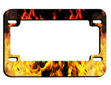 Flames Fire Motorcycle License Plate Frame Black Metal Gifts Men Bikers