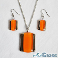 necklace and earrings set, rectangle Orange with old platinum handcrafted, woman