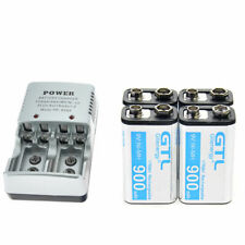 4X Durable 9V 9 Volt 900mAh Power Ni-Mh Rechargeable Battery with 2-PORT Charger