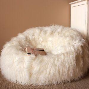 New Ivory & Deene Large Cream Shaggy Fur Bean Bag Cover Cloud Chair Beanbag