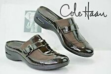 COLE HAAN Air Womens 9 B Mules Slides Slip On Loafers Brown Patent Leather Y554