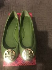 WOMENS TORY BURCH QUINN REVA Green Leaf LEATHER  LOGO BALLET FLAT SHOES SZ 7.0