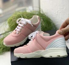 Authentic Chanel Pink Canvas Leather CC Logo Lace Up Sneakers Sz EU 40 US 10