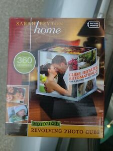 """Sarah Peyton Home Motorized Revolving Photo Cube Holds Five 4"""" x 4"""" Pictures NEW"""