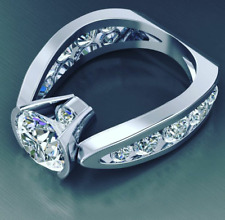 Sterling Silver Iced Out Cz Customized Ring 1/2 Ct Underneath 2.30 Ct Center 925