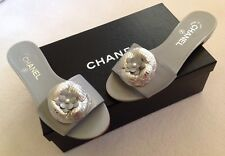 Chanel Grey Silver Camellia Python CC Pearl Mule Slide Flat Sandals Sz 37 BNIB