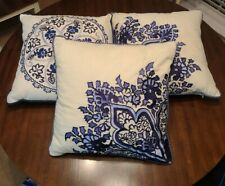 Waverly Throw Pillows Blue Square Set of Three