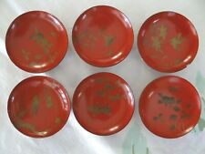 Japanese Red Lacquerware Bowls Meiji Wood