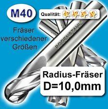 Kugelfräser, Durchmesser 10mm, Halbrund-Fräser, Metall-Fräser, 2 Schneiden M40