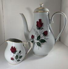 More details for bavaria  vintage coffee pot & creamer rose red