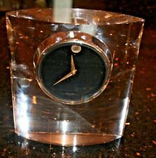 """very rare Movado Crystal Mantle Desk Clock w/ Japanese Movement 7x6.25x2"""""""