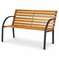 Outdoor Wooden 3 Seater Modena Wood Slotted Steel Garden Patio Bench Park Seat