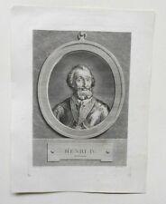 Gravure XVIIIème - Portrait d'Henri IV - Lépicié - Jean Guillaume Moitte