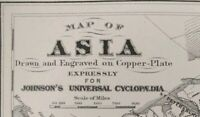 Vintage 1874 ASIA Map ~ Old Antique Original CHINA INDIA JAPAN PERSIA RUSSIA