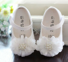 New Baby Girls White Christening Party Shoes 15-18 Months