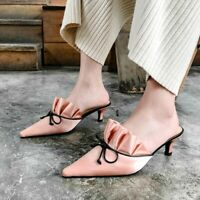 Women's Mules Kitten Heels Bowknot Pointed Toe Pumps Satin Sandals Fashion Shoes