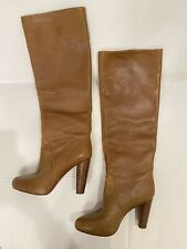 ELIE TAHARI Camel Knee High Hidden Platform Leather Boots Sz 39.5