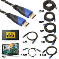 1080P Braided HDMI Cable V1.4 AV HD 3D for PS3 Xbox HDTV 0.5m /1m /1.8m /3m / 5m