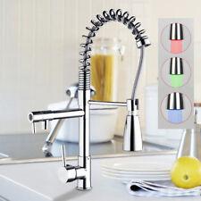 U.S 3 Color LED Kitchen Pull Down&Swivel Spout Sink Faucet Mixer Tap Chrome