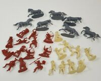 Vintage Retro Cowboy and Indian Horse Toy Soldiers Rare x29 Plastic Figures