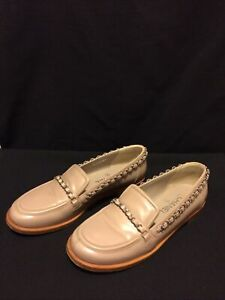 Chanel Beige Patent Leather Chain Loafers G30001 Shoes Women's Size 39 US 8.5-9
