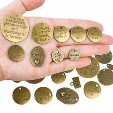 48 Quote Charms Antiqued Bronze Word Pendants Assorted Lot Bulk Wholesale
