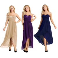 Women Ladies Strapless Asymmetric Chiffon Bridesmaid Dresses Evening Party Prom