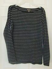 Tommy Bahama Womens Sz S Black/Gray Striped Shirt~Long Sleeve T-Shirt EUC