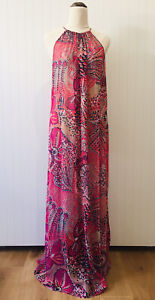 Tommy Bahama Size: XL Sheer Halter Shift Maxi Dress Colourful Cover-Up Beach
