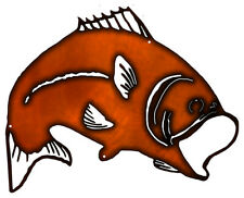 Vintage Antique Style Metal Sign Big Mouth Bass 