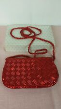 Vintage Walborg of Hong Kong Red Beaded Evening Bag-Excellent! Original Box