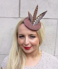 Brown Pheasant Feather Pillbox Hat Fascinator Hair Clip 1940s Races Vintage 3265
