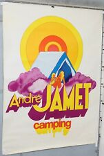 AFFICHE ANCIENNE DECO POP-ART  ANDRE JAMET CAMPING  circa 1960-70'