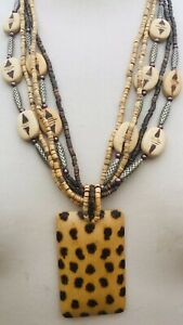 Vintage Hippie Style Wood & Silver Bead Necklace/1960's/70s Ethnic Pendant