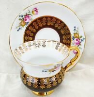 Vintage Royal Stafford Footed Tea Cup & Saucer Pink Roses & Gold & Blue Flowers