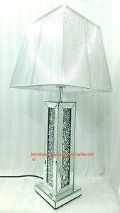 Sparkly Square Table Lamp Mirrored Diamond Crush Crystal Tall Silver Shade Glitz