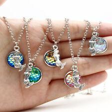 Women Fish Scale Pendant Mermaid Necklace Rainbow Chain Fashion Jewelry Random