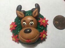 Reindeer in a Christmas Wreath Pin