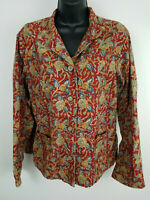 Orvis Women's Button Front Long Sleeve Red Floral Print Cotton Shirt Sz Med Used
