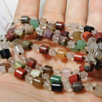"""Vintage Natural Stone Crystal Bead Sterling Silver 36"""" Long Necklace 10h 84"""